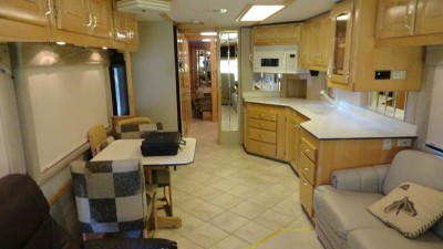 looking rearward in living-kitchen area